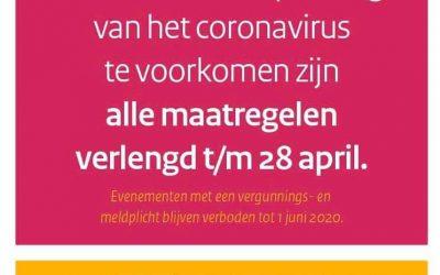 Alle maatregelen verlengd t/m 28 april
